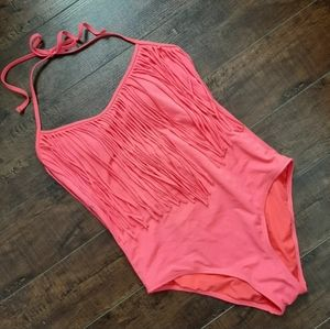 L.A. Hearts Coral Fringe One Piece Swimsuit  M